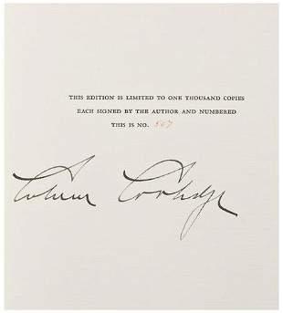 COOLIDGE, Calvin (1872 - 1933). The Autobiography
