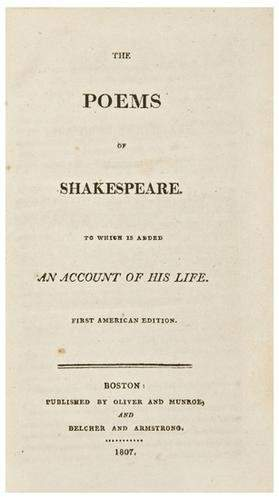 SHAKESPEARE, William. The Poems of Shakespeare. To