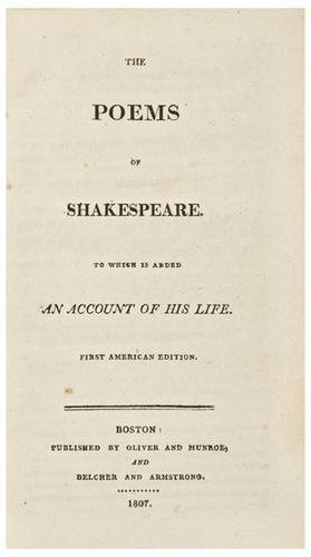 16: SHAKESPEARE, William. The Poems of Shakespeare. To
