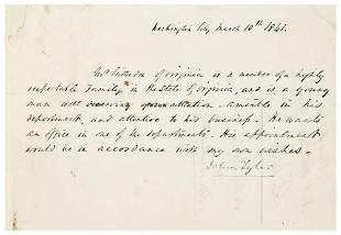 TYLER, John (1790 - 1862). Rare autograph letter s