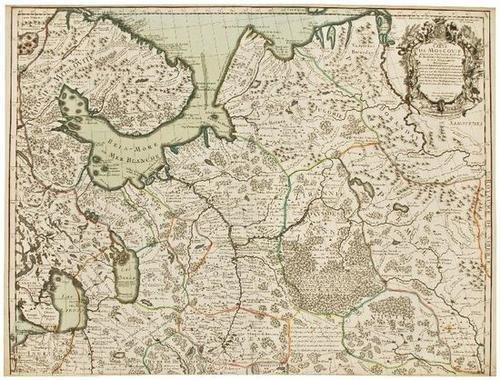 9: MAP-- Guillame de L'Isle. Carte de Moscovie.