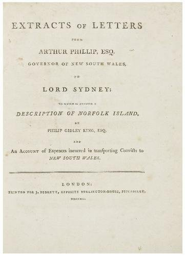 19: PHILLIP, Arthur (1738 - 1814). Extracts of Letters