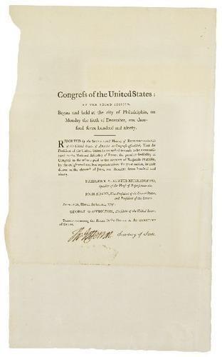 "382: JEFFERSON, Thomas Document signed regarding the ""t"