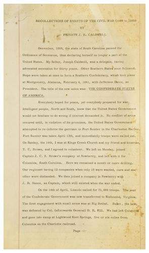 [AMERICANA] - J. E. CALDWELL. Typescript memoir t