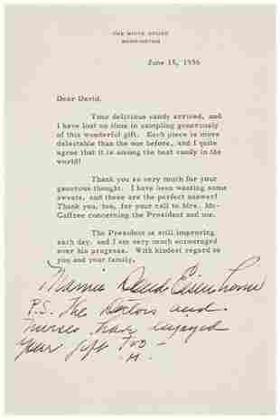 [AMERICANA] - EISENHOWER, Mamie Doud. Typed letter