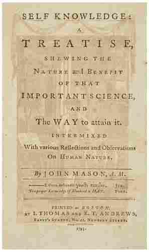[AMERICANA] - John MASON, Self Knowledge: A Treati