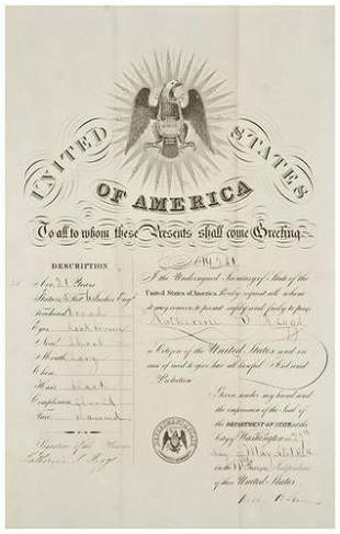 [AMERICANA] - William SEWARD. Ship papers for Kath