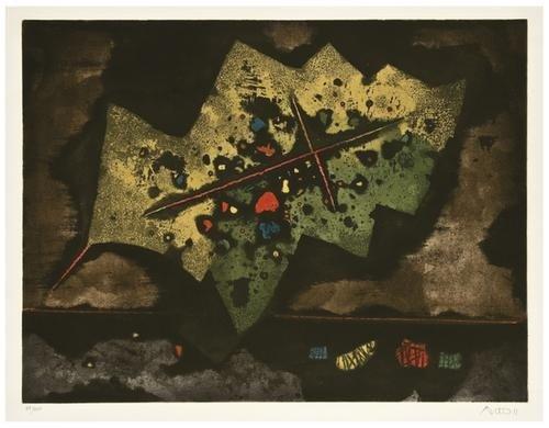 5: Mordechai Ardon (1896-1992) Feuille avec Croix