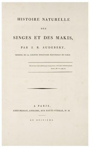 1: AUDEBERT, Jean Baptiste (1759-1800). Histoire Natu