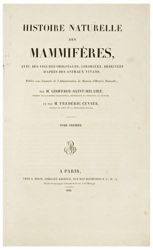 20: CUVIER, Frederic (1773-1838) and GEOFFROY SAINT-