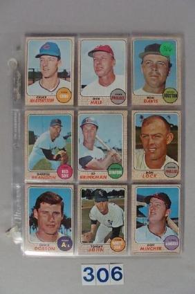 (72) 1968 TOPPS BASEBALL CARDS