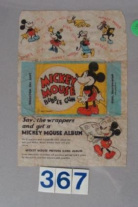 1935 MICKEY MOUSE BUBBLE GUM WRAPPER,
