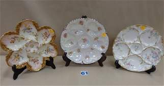 (3) HAND-PAINTED 8 INCH OYSTER PLATES