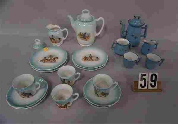 GERMAN PORCELAIN 14 PIECE CHILD'S TEA SET: TEAPOT, (4)