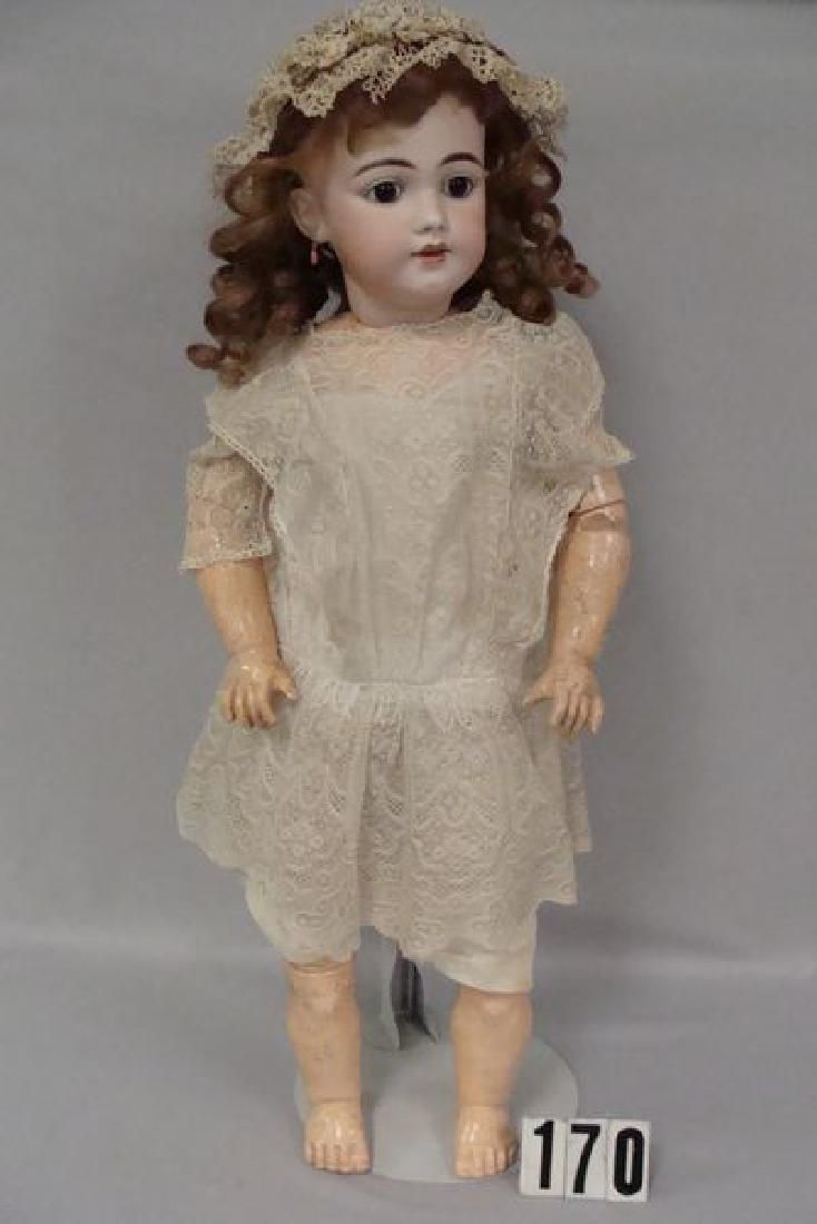 EARLY 26 INCH S&H #1009 BISQUE HEAD CHILD, PIERCED EARS