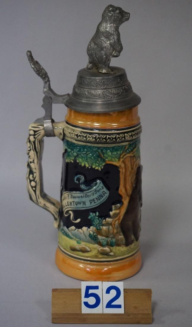 NEUWEILER BEER 'GRIZZLY BEAR' BEER STEIN