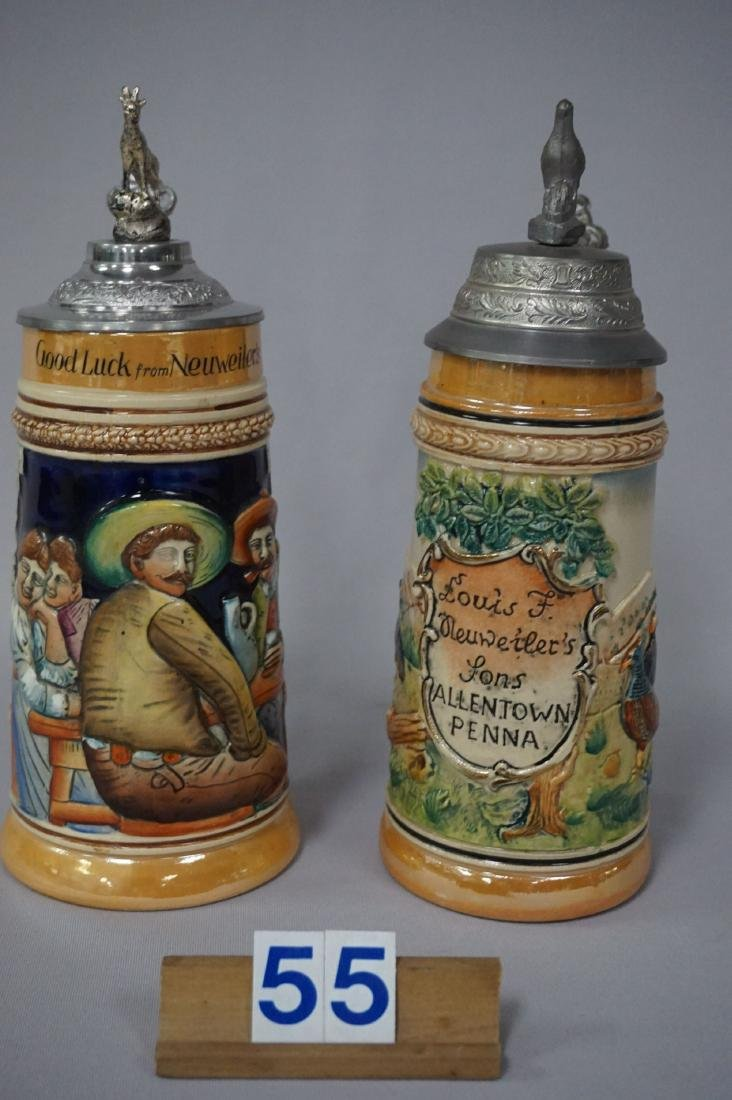 (2 PIECES) NEUWEILER BEER STEINS: