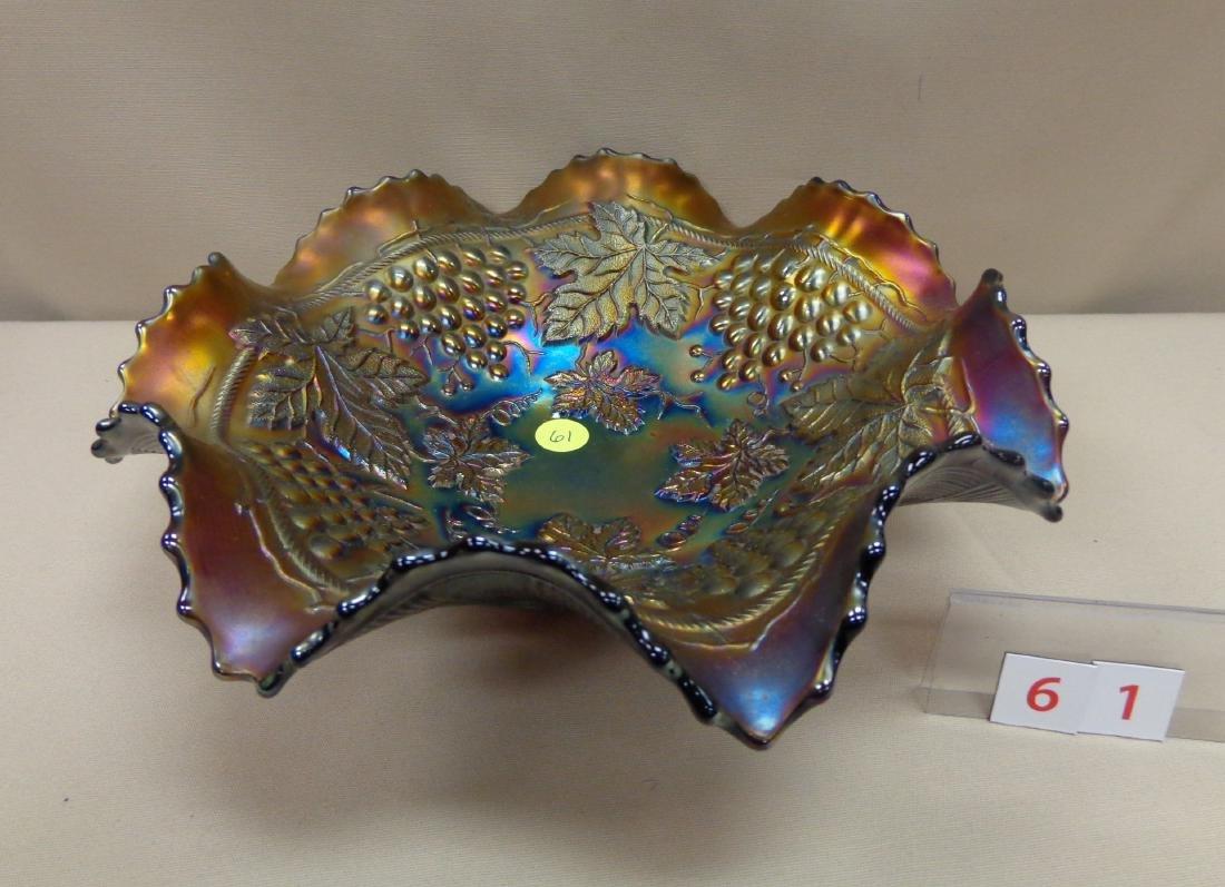 CARNIVAL GLASS: 11 INCH GRAPE & CABLE