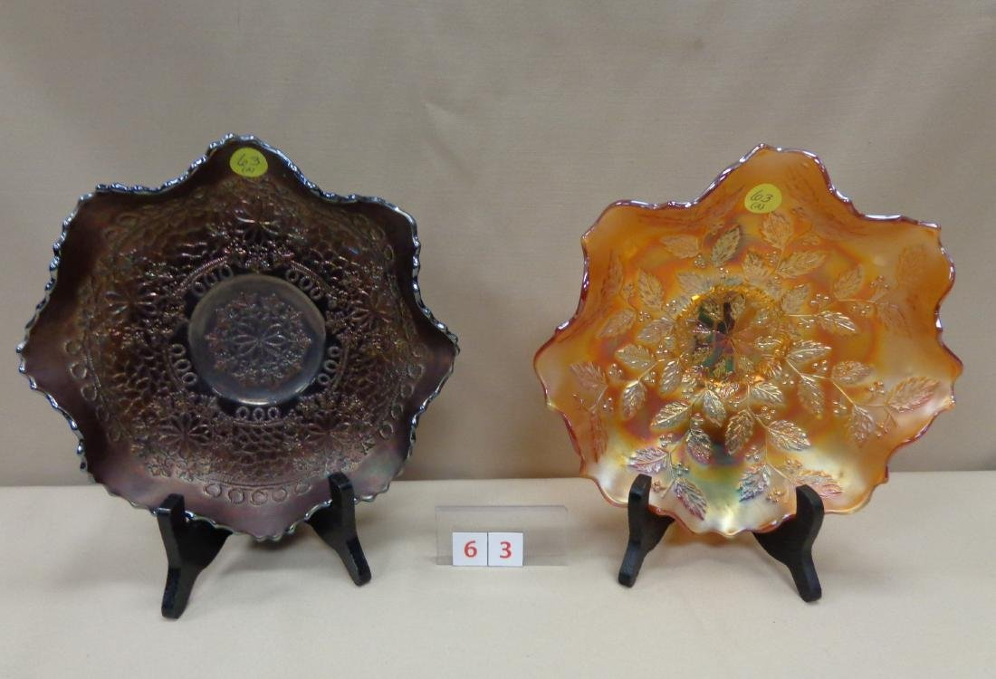 CARNIVAL GLASS: (2) 9 INCH BOWLS