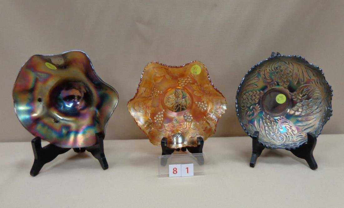 CARNIVAL GLASS: (3) 7 INCH BOWLS,
