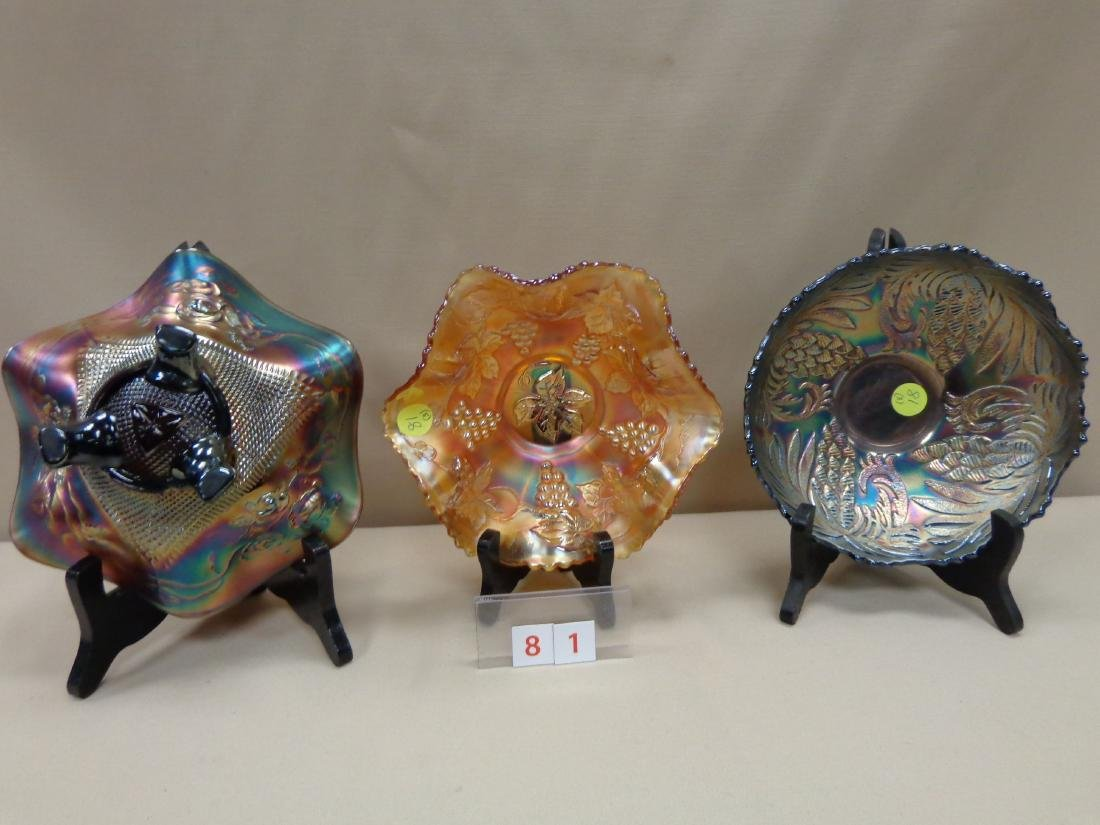 CARNIVAL GLASS: (3) 7 INCH BOWLS, - 2