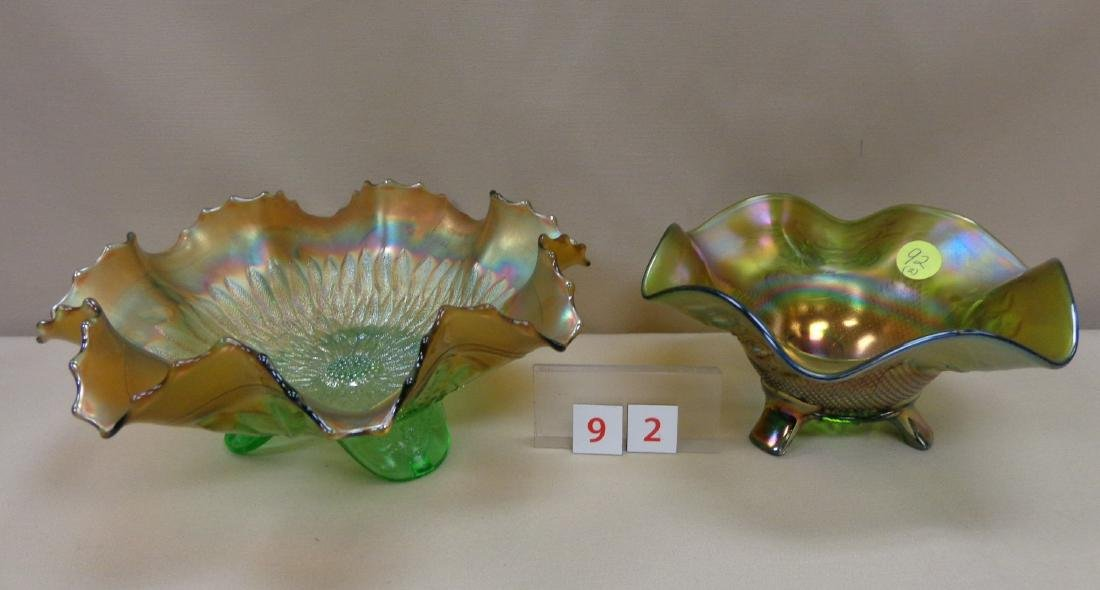 (2 PIECES) CARNIVAL GLASS: - 2