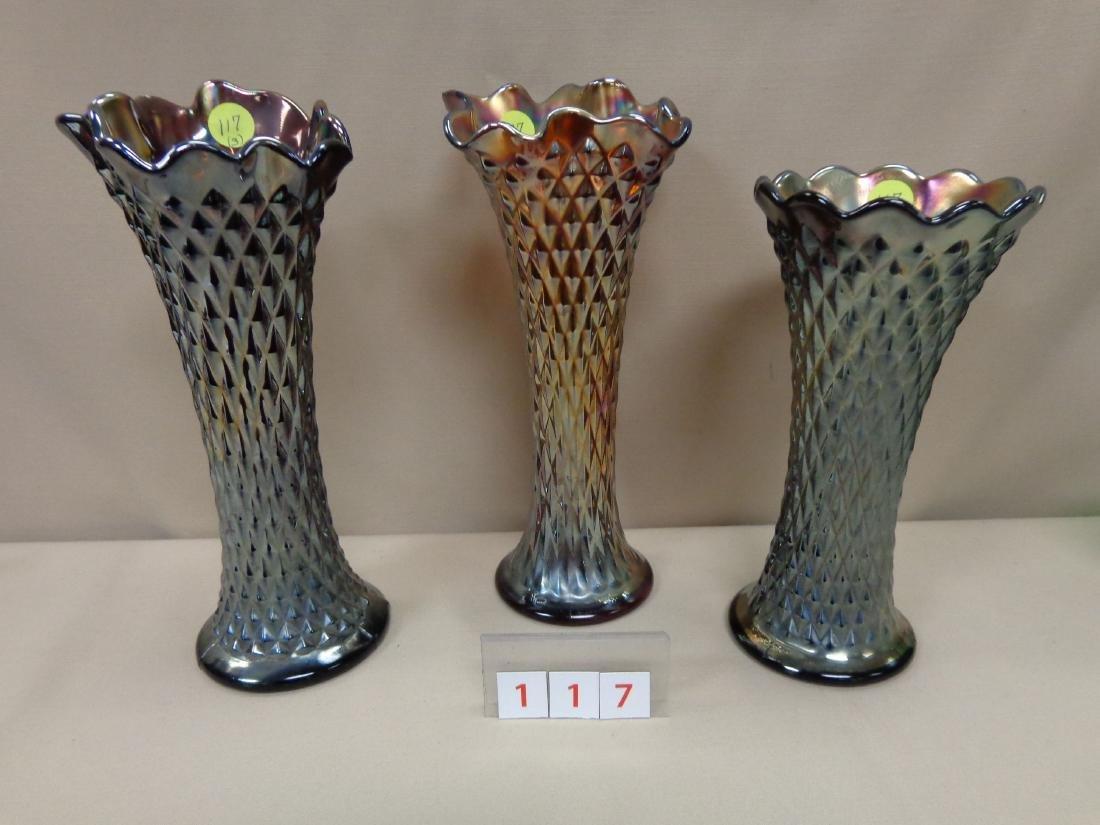CARNIVAL GLASS: (3) DIAMOND POINT VASES,