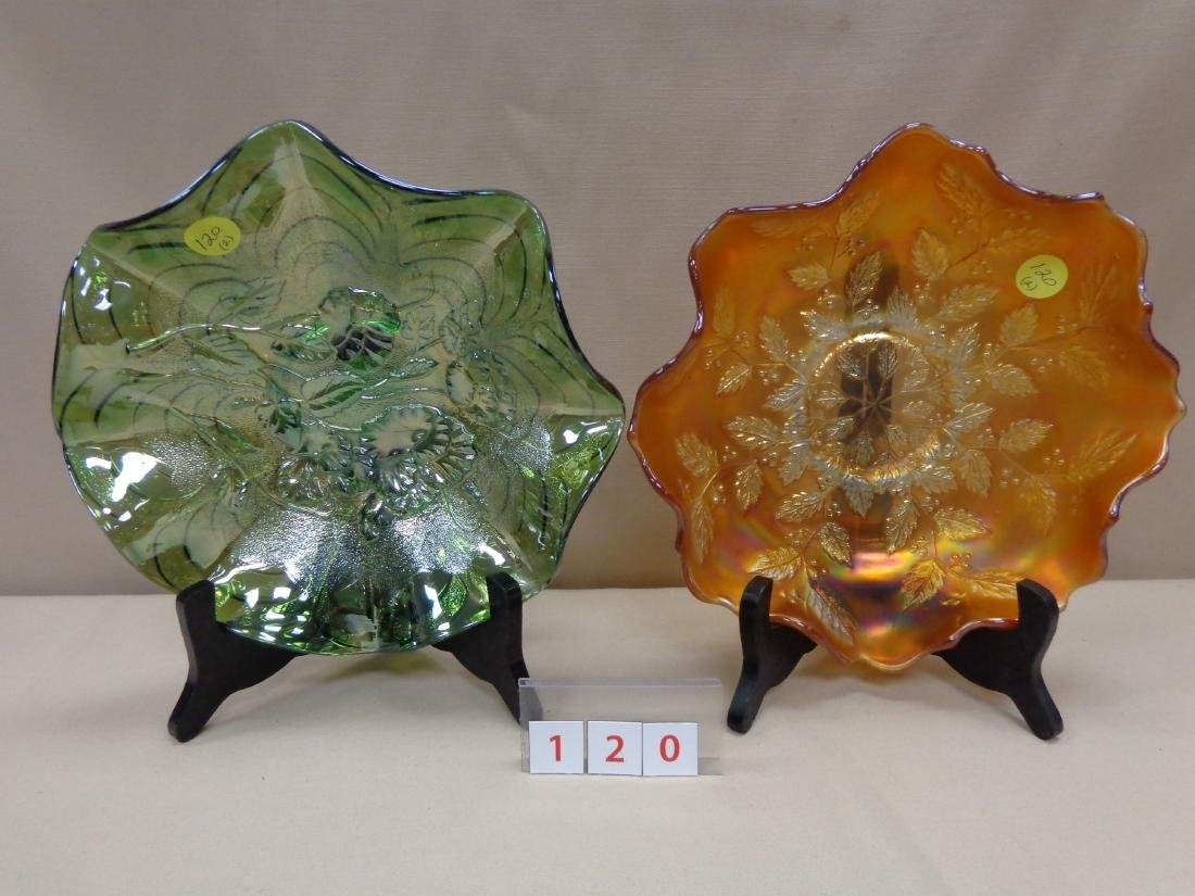 CARNIVAL GLASS: (2) 9 INCH BOWLS,