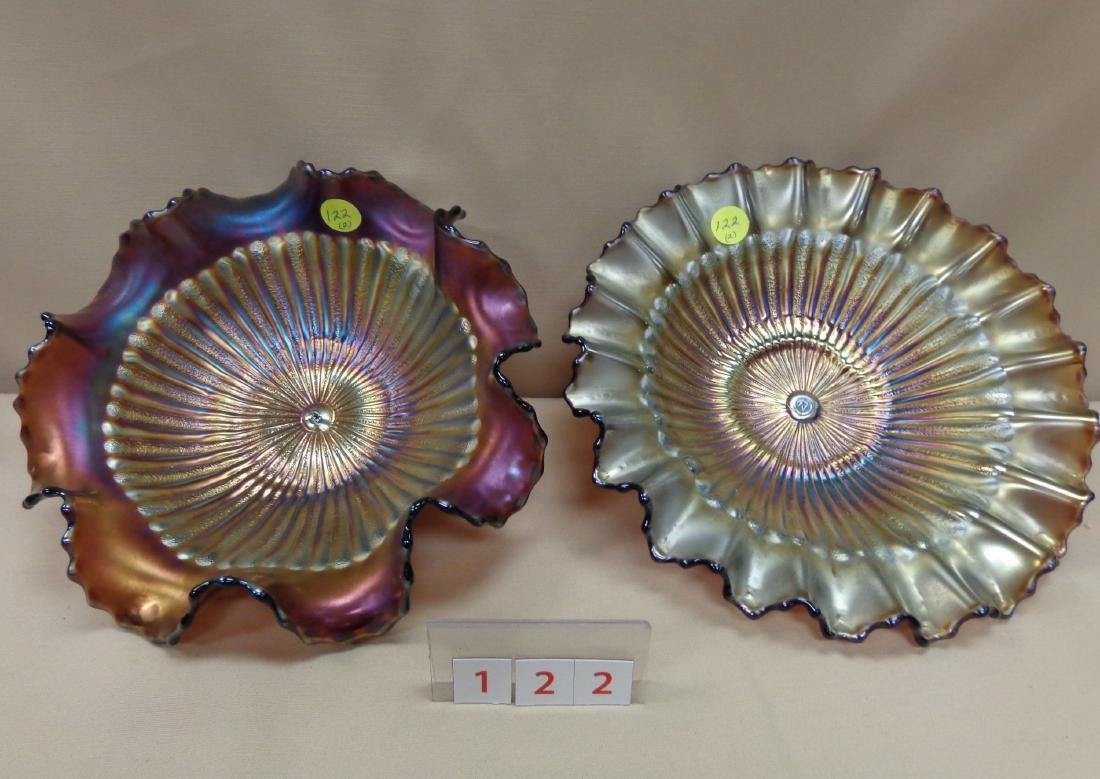 CARNIVAL GLASS: 9 1/2 INCH STIPPLED RAYS