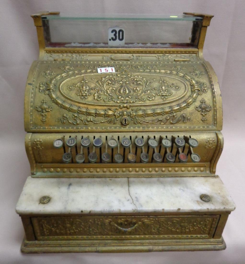 ANTIQUE BRASS NATIONAL CASH REGISTER,