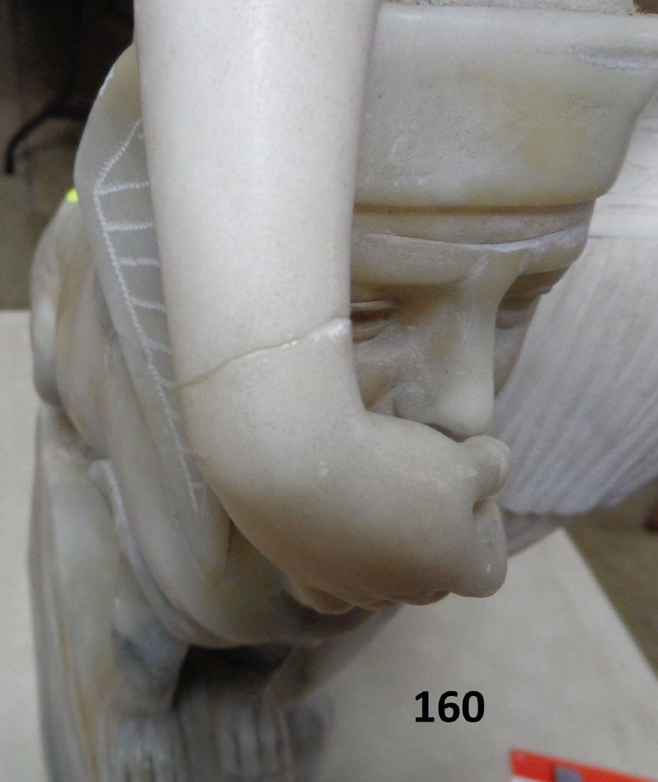 CARVED MARBLE SCULPTURE OF AN EGYPTIAN - 4