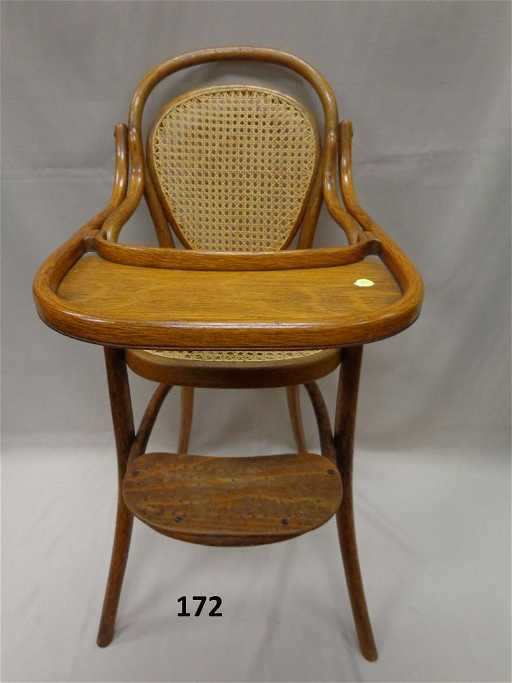 - ANTIQUE CHILD'S OAK BENTWOOD HIGH CHAIR