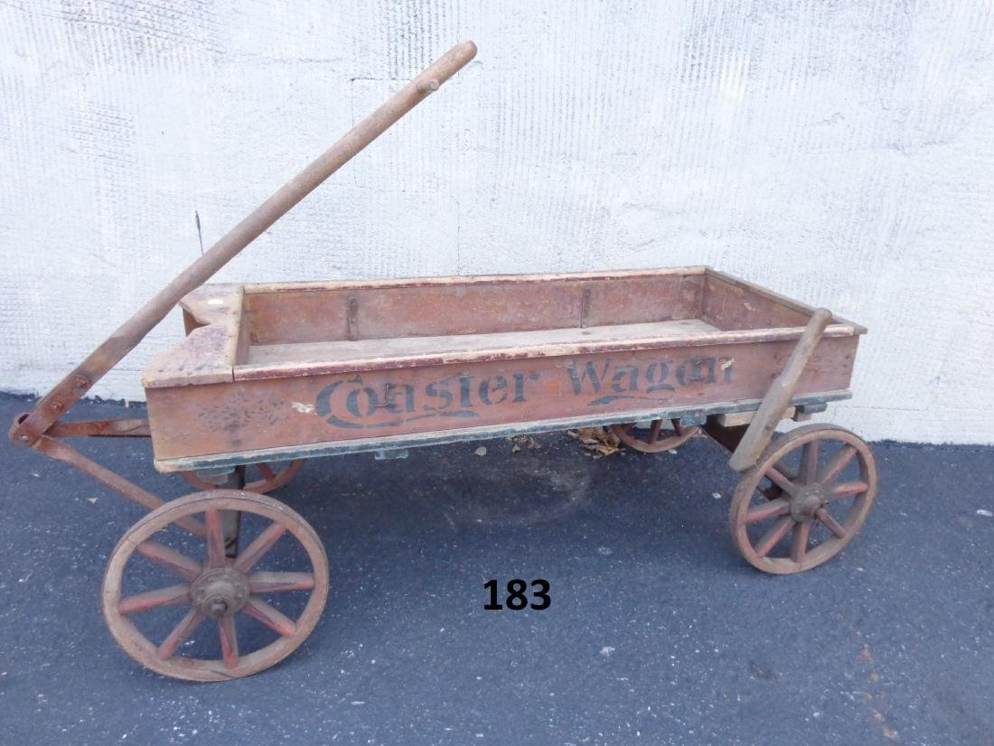 ANTIQUE WOODEN CHILD'S COASTER WAGON