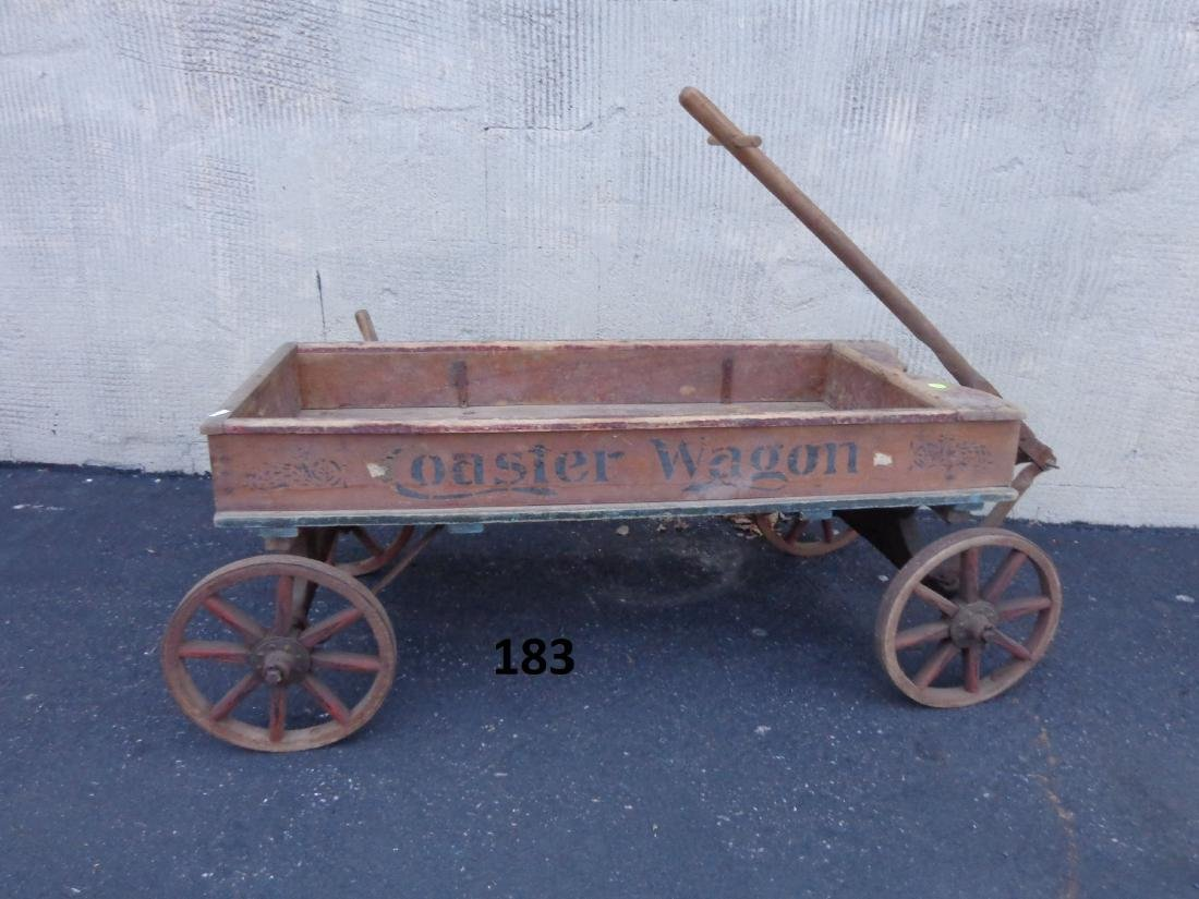 ANTIQUE WOODEN CHILD'S COASTER WAGON - 2