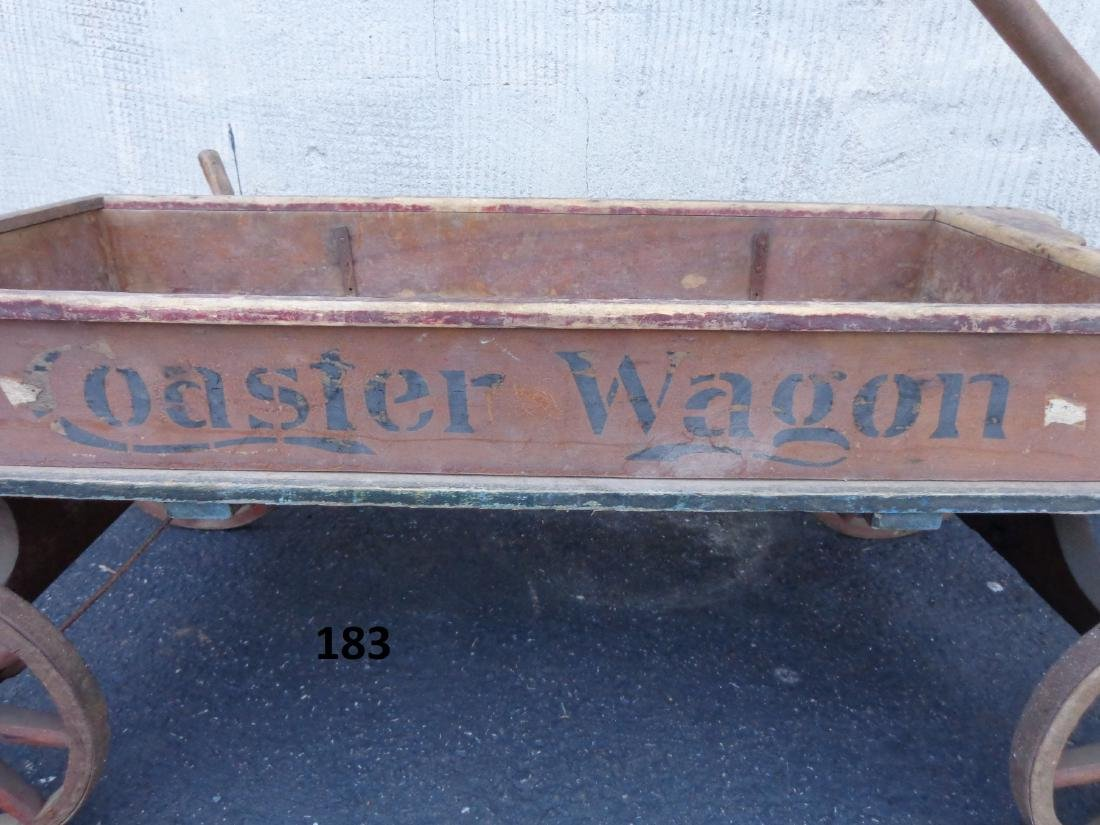 ANTIQUE WOODEN CHILD'S COASTER WAGON - 3
