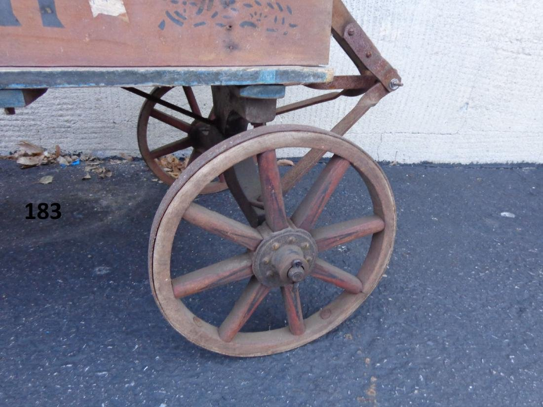 ANTIQUE WOODEN CHILD'S COASTER WAGON - 4