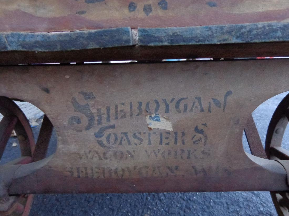 ANTIQUE WOODEN CHILD'S COASTER WAGON - 5
