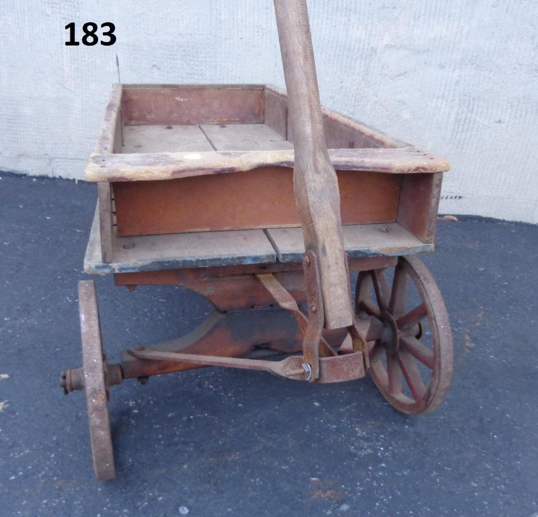 ANTIQUE WOODEN CHILD'S COASTER WAGON - 6