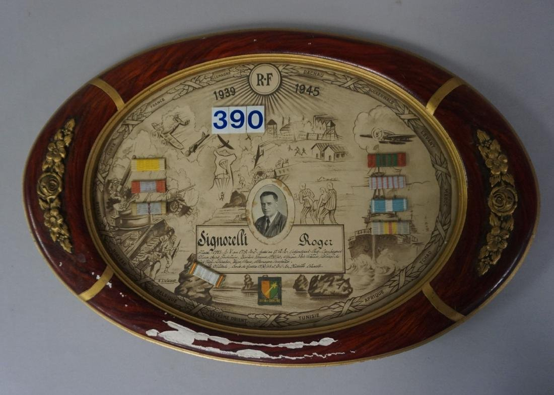 FRENCH OVAL FRAME WITH SERVICE RECORD