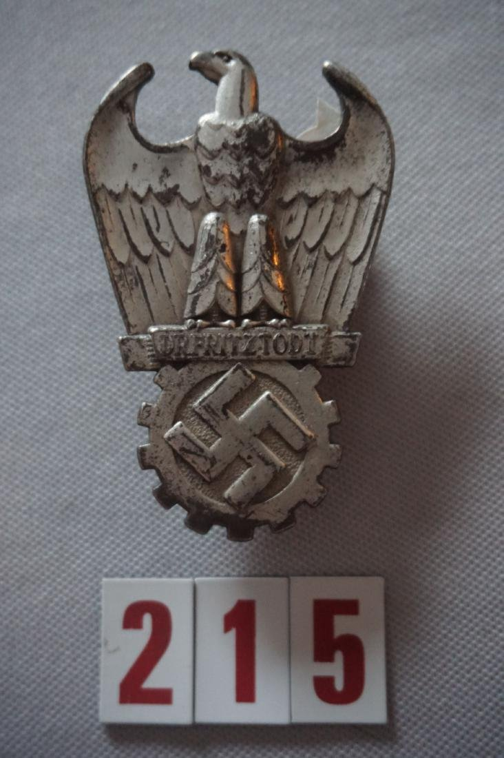 BADGE, FIRST TODT PIECE, DATED 8-2-44,