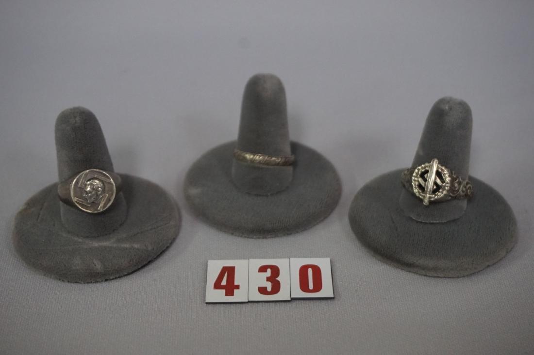 (3) NAZI SILVER RINGS, SA, HITLER & SWASTIKA