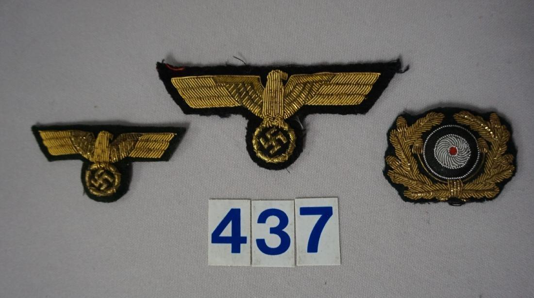 (3 PCS) GERMAN GENERAL'S BULLION INSIGNIAS,