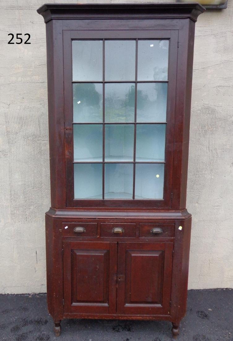 (2 PIECE) ANTIQUE CORNER CUPBOARD