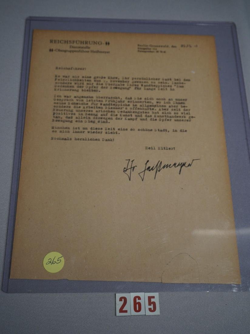 LETTER OF SS OBERGRUPPENFUHRER