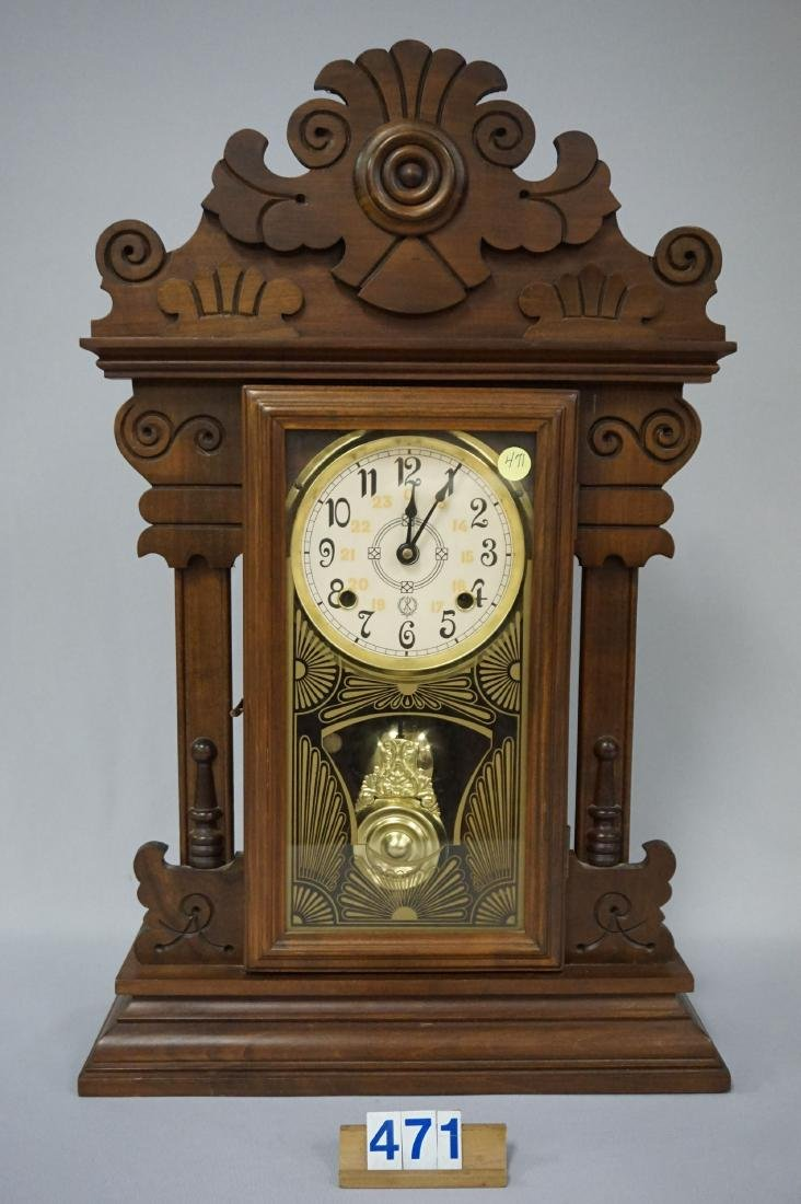 SHELF CLOCK WITH GINGERBREAD CASE,
