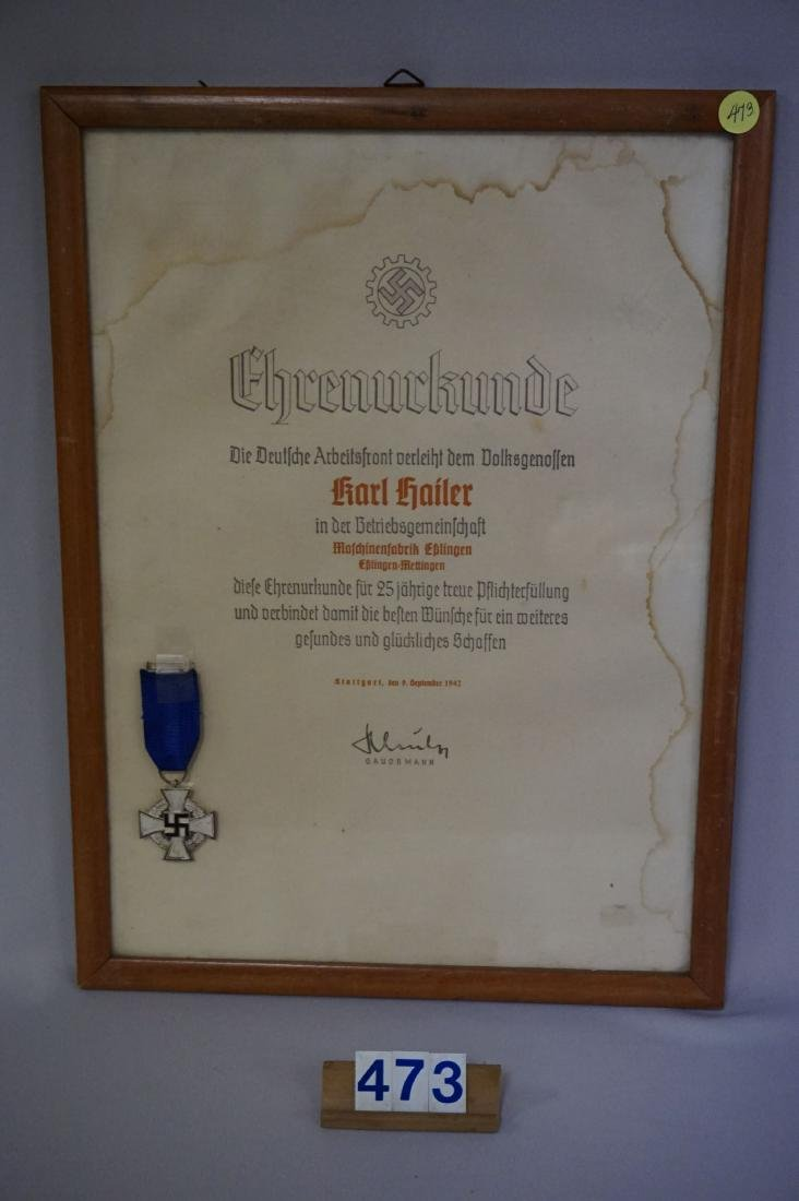 (6) MEDAL WITH CITATION OF DAF FOR 25 YEARS