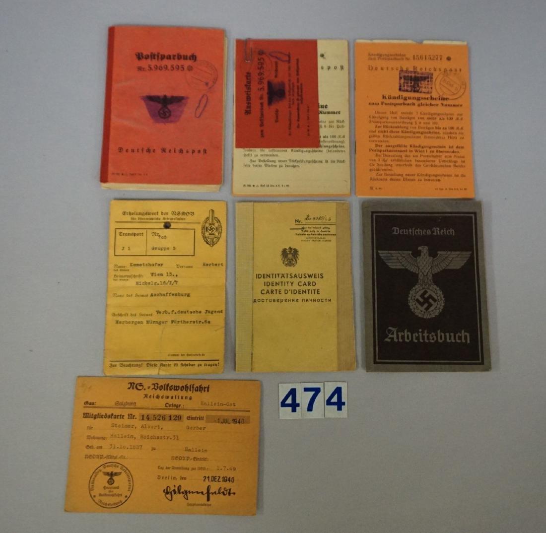WW II GERMAN GROUP OF ID CARDS