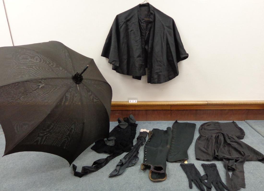 LOT OF LADIES BLACK VICTORIAN CLOTHING - 3