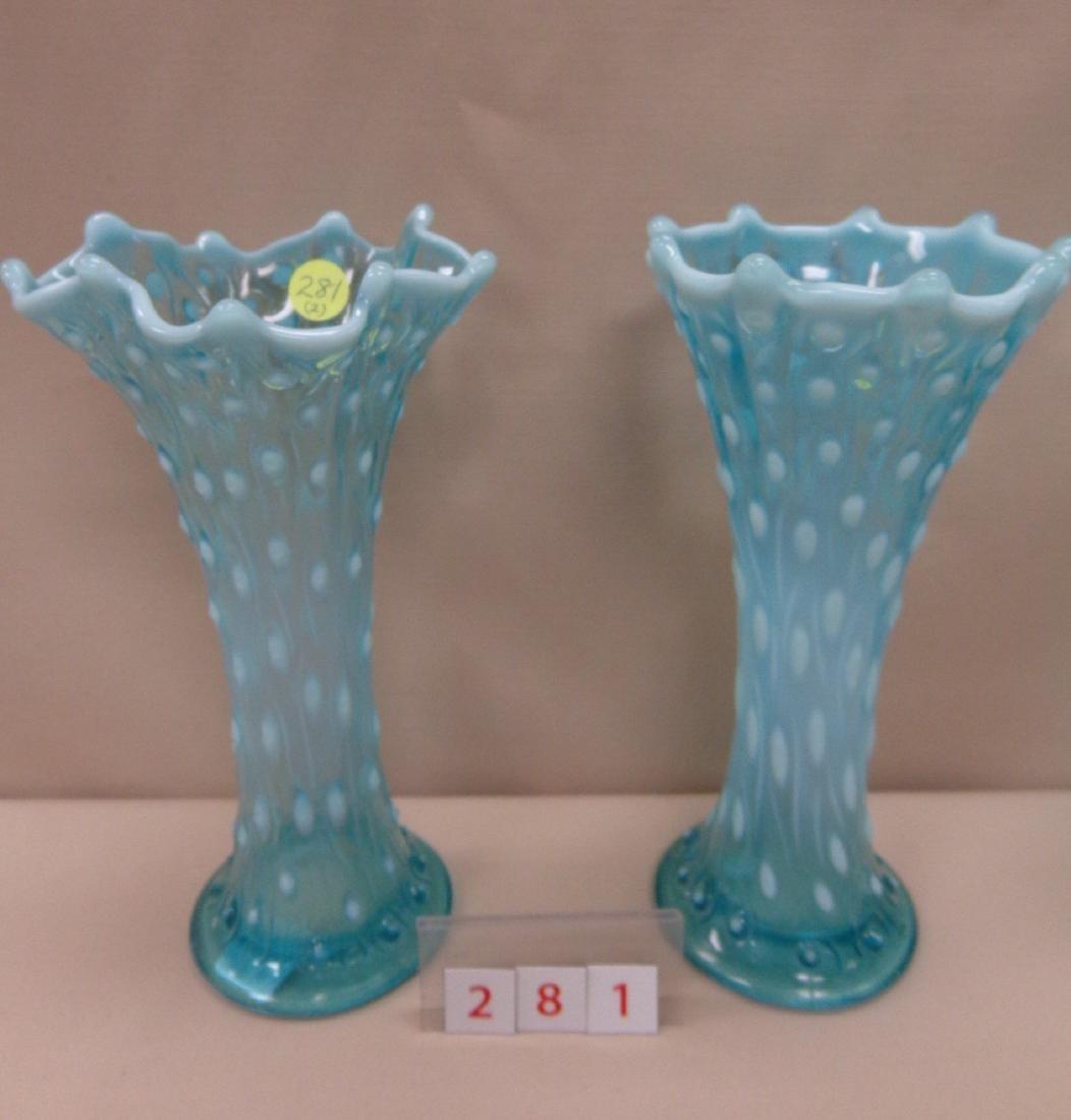 (2) CARNIVAL GLASS VASES: