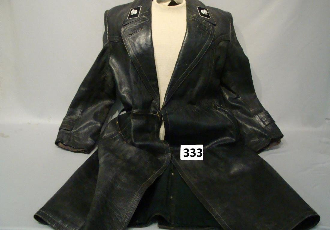 WW II WAFFEN SS LEATHER COAT